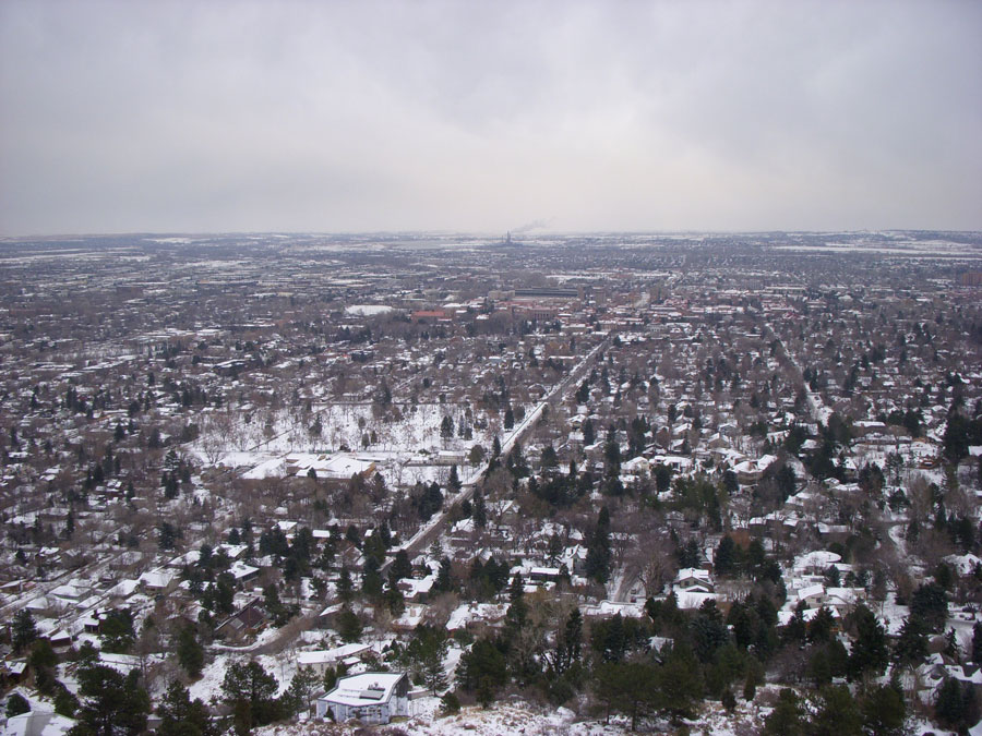 The view of Boulder, Colorado from a mountain top.