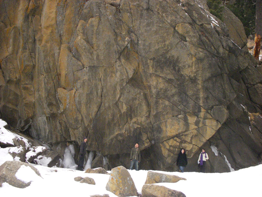 Merevin and friends hang out at Boulder Falls.