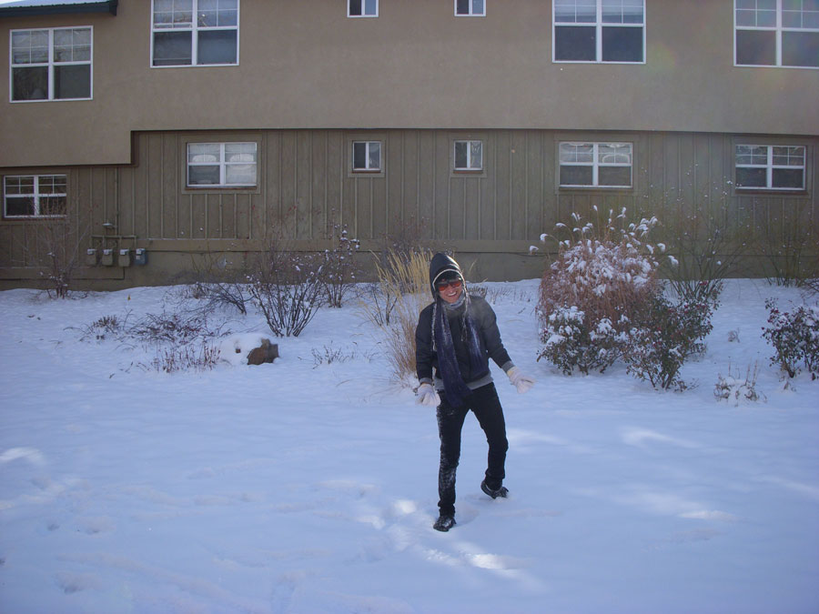 Kevin Banogon sees snow for the first time.