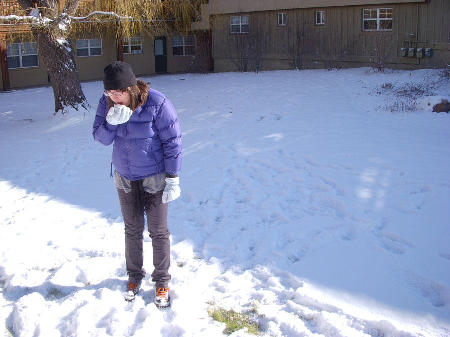 Meredith Lambert enjoys the Boulder snow.