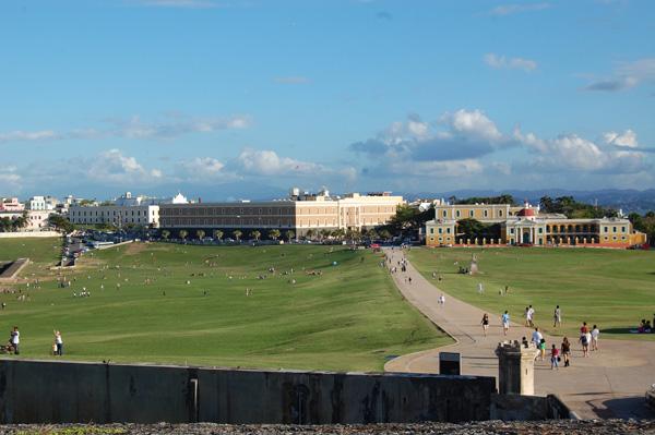 The extensive lawn of El Morro in Puerto Rico.
