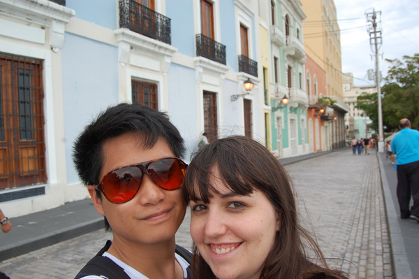 Merevin enjoys the colorful buildings in San Juan, Puerto Rico.