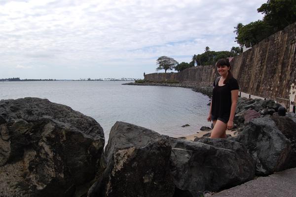 Meredith Lambert gets ready to walk along the water in San Juan.