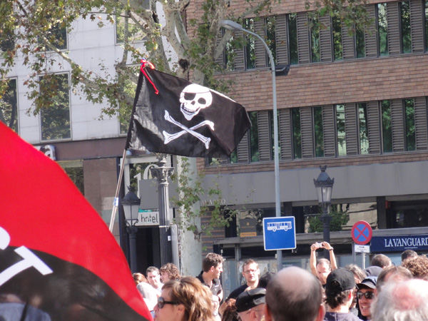 A pirate flag seen during a riot in Barcelona.