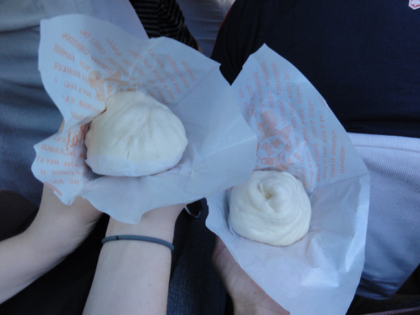 Meredith Lambert and Kevin Banogon enjoy a couple of steamed buns on the way to Dumaguete City.