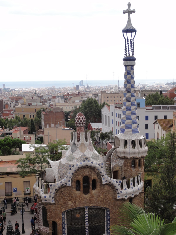 The view of the city of Barcelona from the terrace of Park Güell.