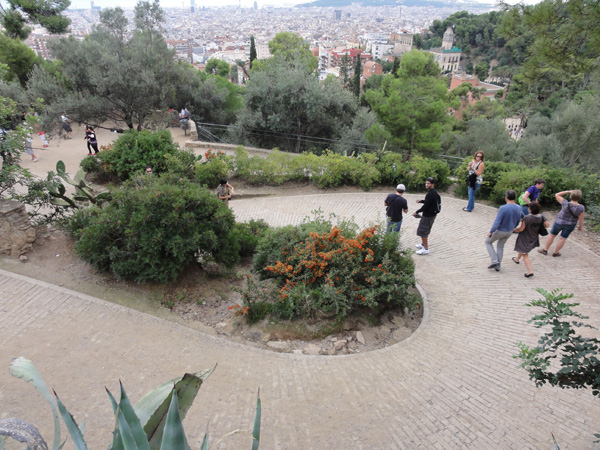 The meandering paths make their way around Park Güell in Barcelona, Spain.