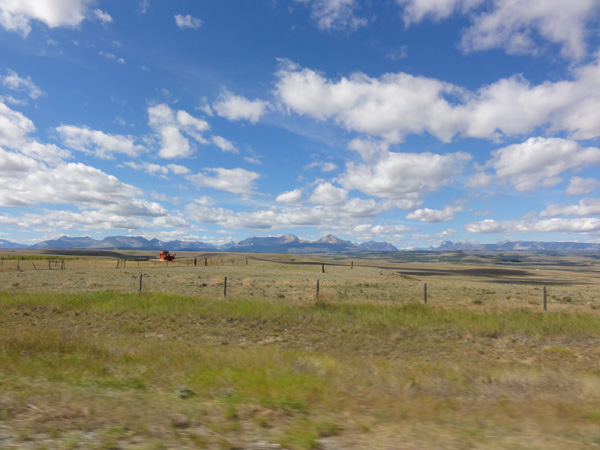 The view of Glacier National Park while driving through Big Sky Country.