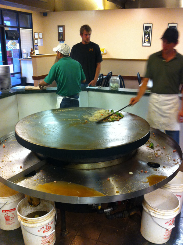 The food at Mongolian Barbecue is uniquely prepared and served.