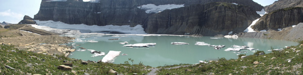 A panoramic of Grinnell Glacier in Glacier National Park.