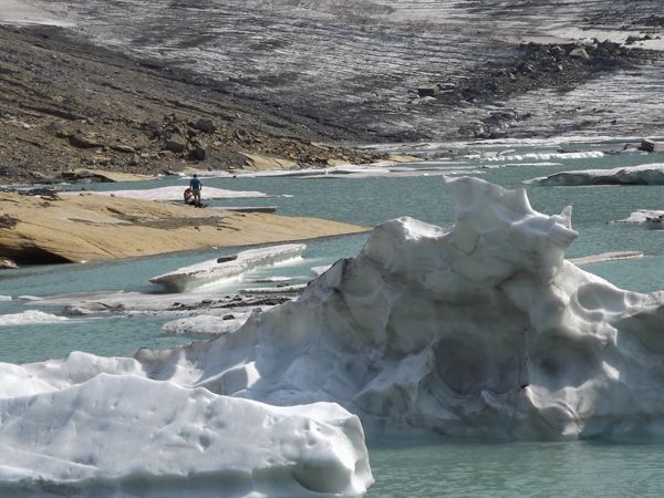 Large chunks of ice float on the water of the alpine lake of Grinnell Glacier.