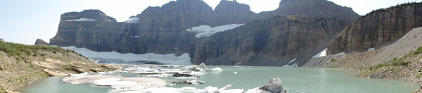A beautiful panoramic taken from the far side of Grinnell Glacier.