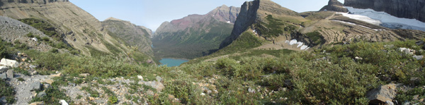 A stunning panoramic of the valley as viewed from Grinnell Glacier's outlook.