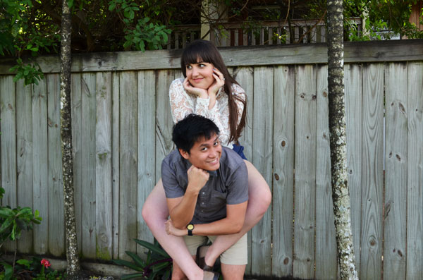 Meredith Lambert and Kevin Banogon pose for engagement photos at home.