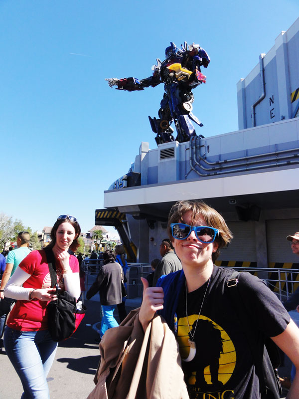 Optimus Prime looks over the crowd at Universal Studios.