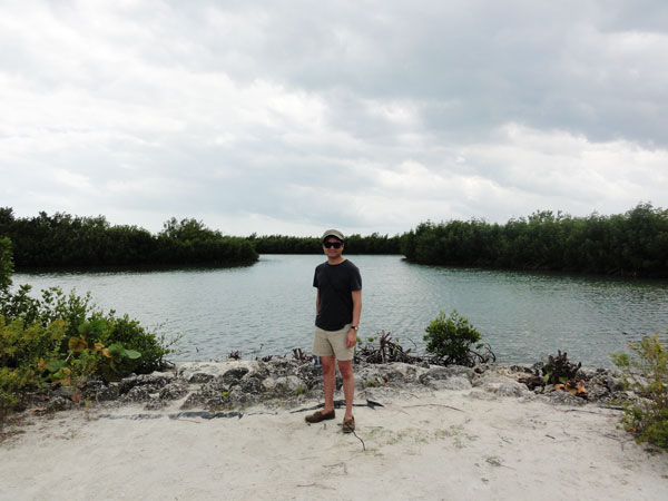Kevin Banogon stops for a moment in front of the mangroves at Bill Baggs Florida State Park.