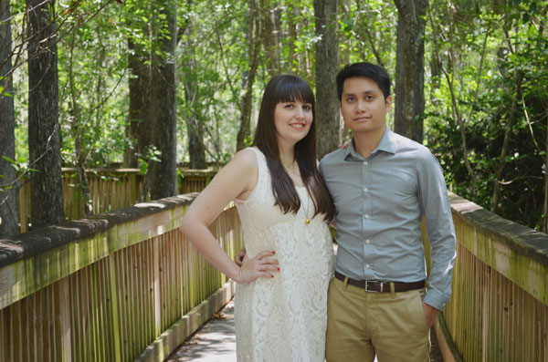 Meredith Lambert and Kevin Banogon pose for engagement photos in Big Cypress National Preserve.