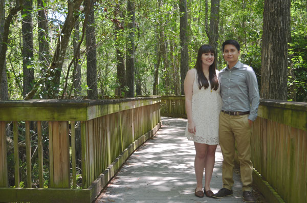 Miami travel bloggers take engagement photos in Big Cypress National Preserve.