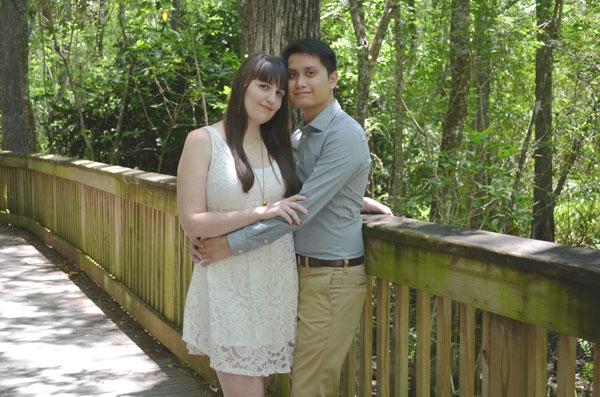 Meredith Lambert and Kevin Banogon take engagement photos in Big Cypress National Preserve.