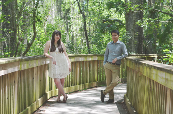 Miami travel bloggers pose for engagement photos in Big Cypress National Preserve.