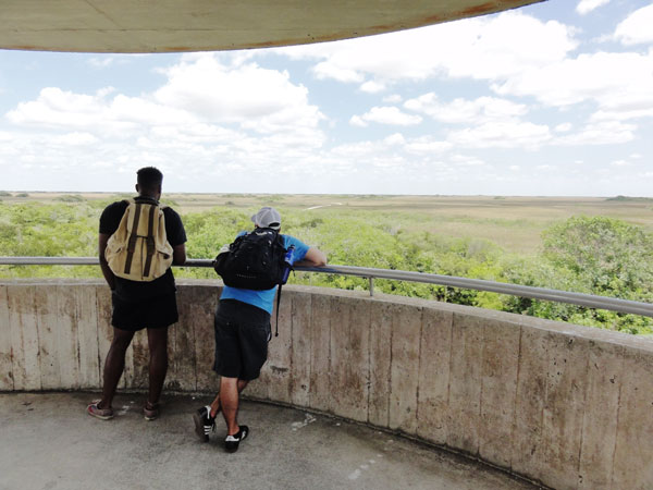 Taking a moment to relax on top the Shark Valley Observation Tower.