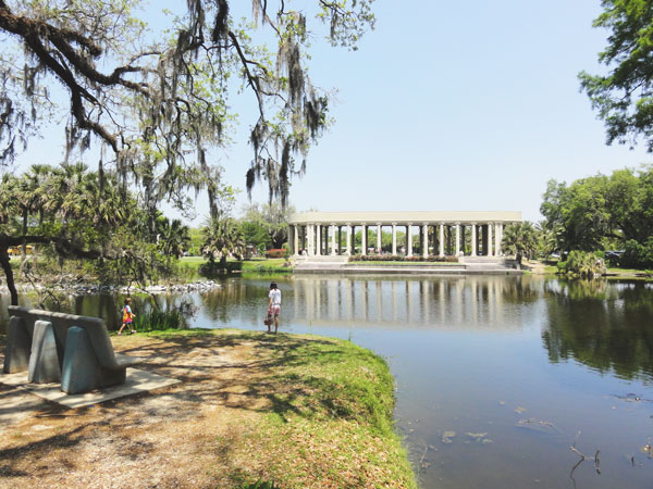 The City Park Peristyle viewed from across the bayou in New Orleans.