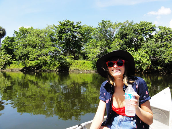 Steffy Degreff having a great time urban canoeing through Miami's Little River.