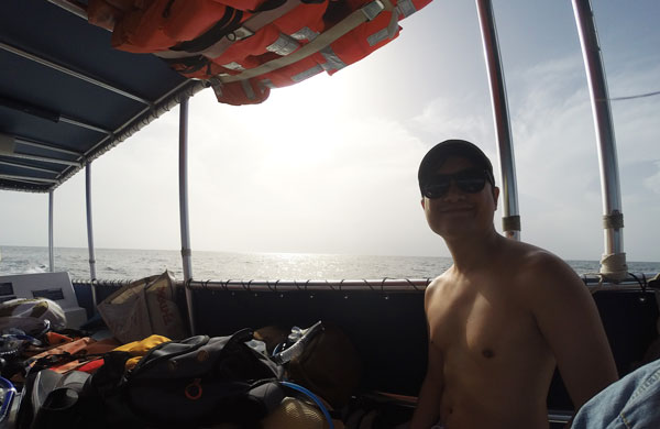 Kevin Banogon gets ready to snorkel off the coast of John Pennekamp at the Grecian Rocks Reef.