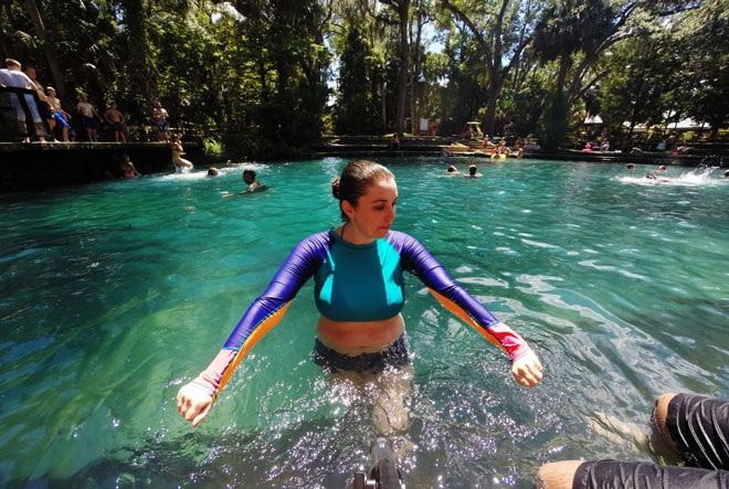Meredith Lambert enjoys the cool temperature of the water at Juniper Springs.