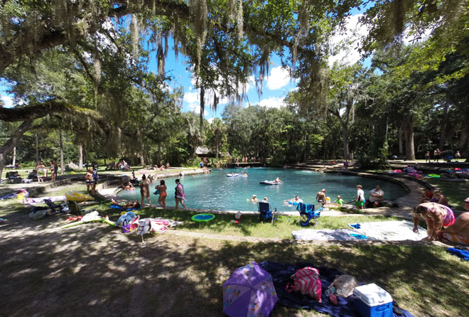 A full view of Juniper Springs on a busy Labor Day weekend.