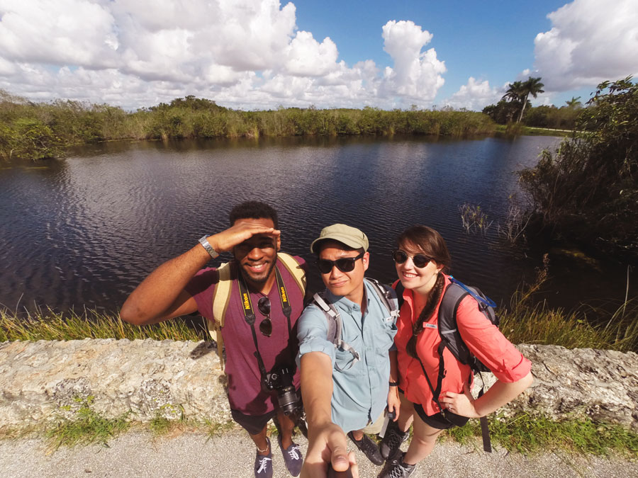 Meredith Lambert, Kevin Banogon, and Devin Thompson get ready to hike the Anhinga Trail in The Everglades.