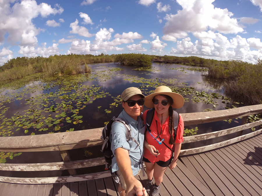 Kevin Banogon and Meredith Lambert explore the Anhinga Trail in The Everglades.