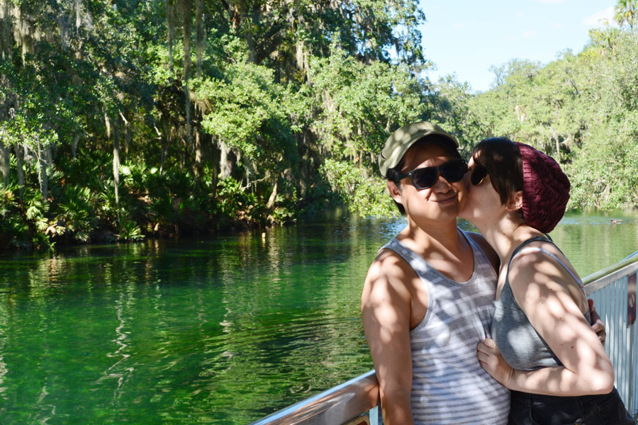 Meredith Lambert and Kevin Banogon celebrate a fantastic day at Blue Springs State Park.