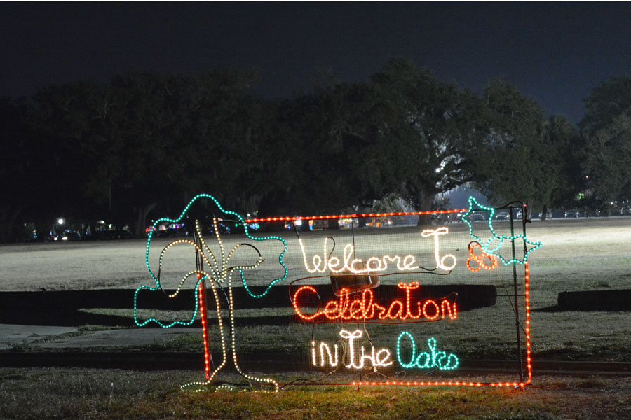 The sign at the entry of Celebration in the Oaks in City Park.