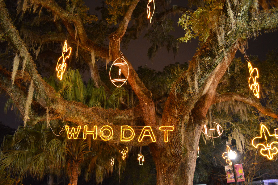 The Saint's 'Who Dat?' tree in Celebration in the Oaks in City Park.