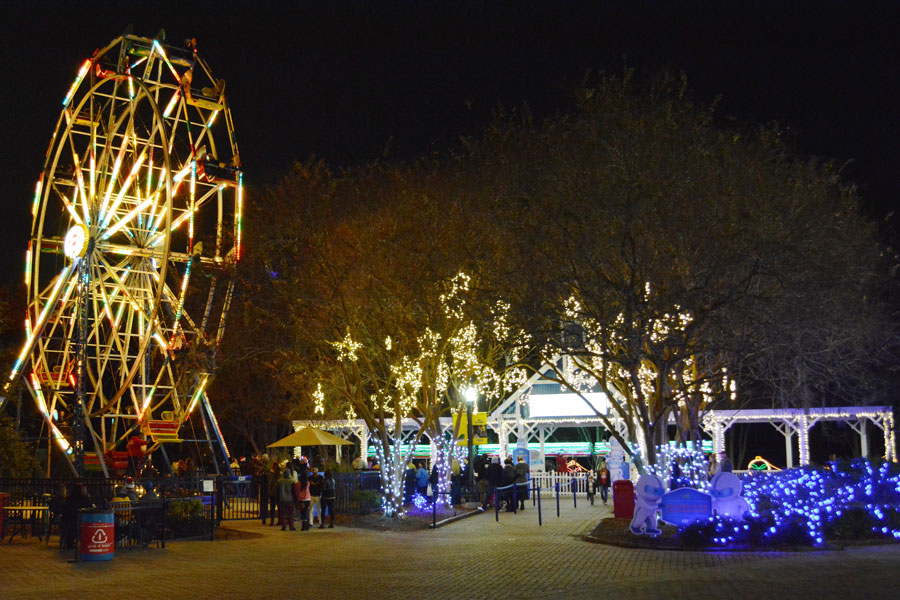The ferris wheel and Christmas lights at Celebration in the Oaks in New Orleans' City Park.