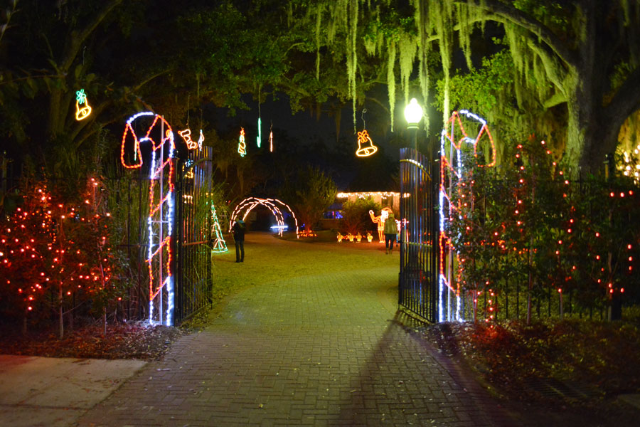 Candy Canes and Spanish Moss at Celebration in the Oaks.