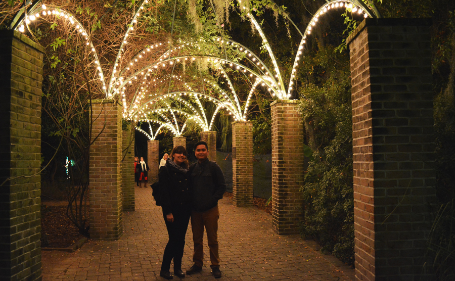 Kevin Banogon and Meredith Lambert enjoy the Christmas lights in City Park days before they get married.