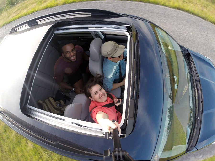 A Gopro selfie out the sun roof of a Subaru Forestor while driving through The Everglades.