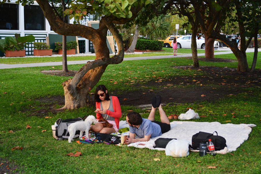 Alicia Doroteo and Alejandro Stein enjoy a picnic at South Pointe Park with Meredith Banogon and Kevin Banogon.