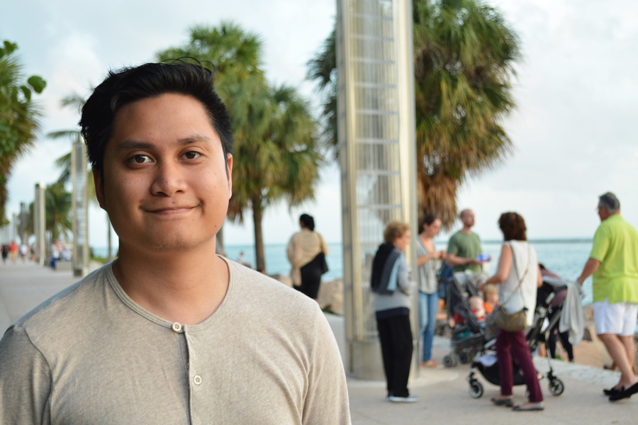 Kevin Banogon enjoys the walkway along the water at South Pointe Park.