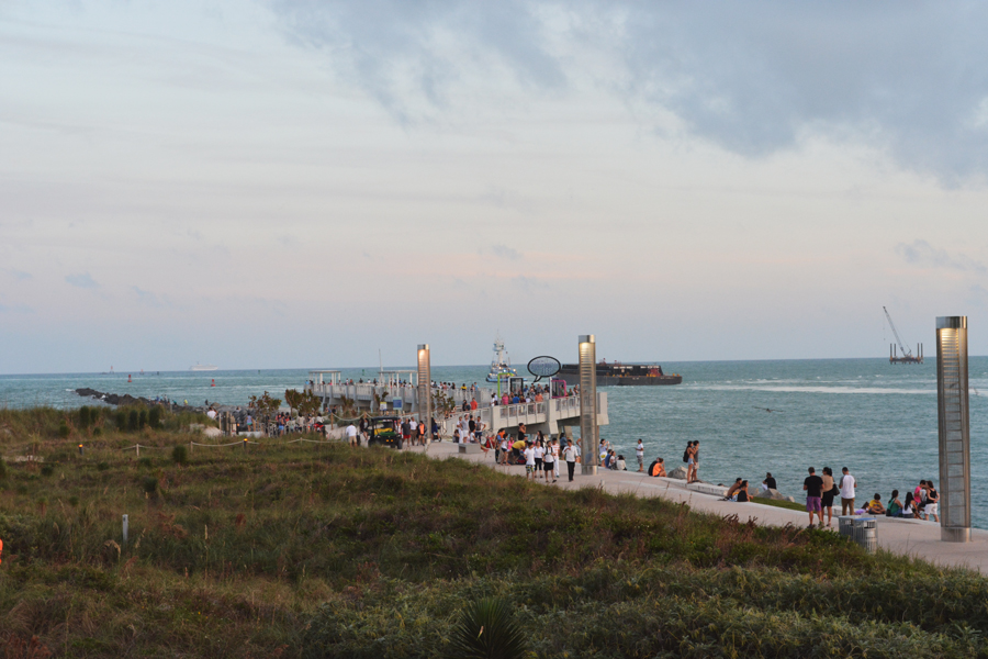 Visitors enjoy an evening spent at South Pointe Park.