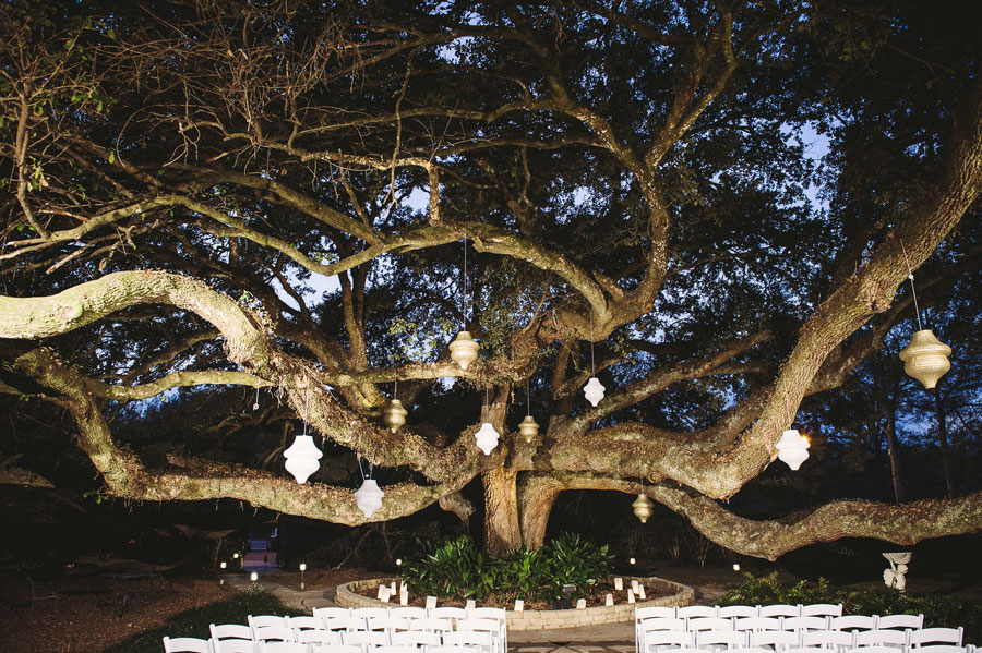 The set up for an outdoor wedding ceremony under the big oak tree at Vintage Court in Covington, Louisiana.