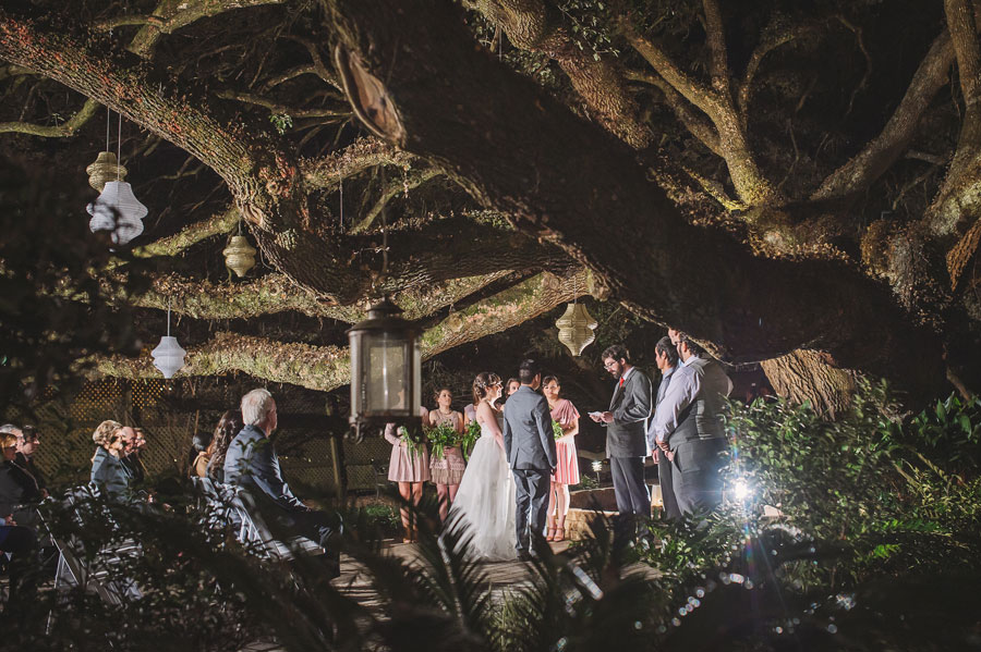 A peek through the oak tree branches at a small outdoor wedding ceremony at Vintage Court in Covington, LA.