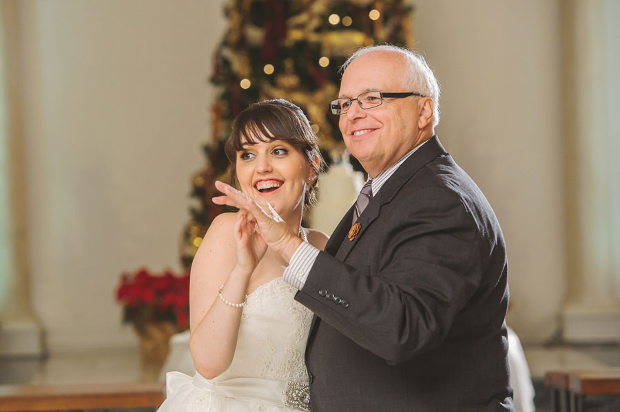 The father-daughter dance during Meredith Lambert and Kevin Banogon's wedding at Vintage Court.