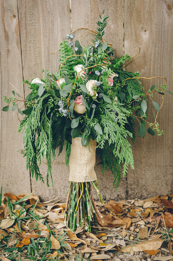 The Merevin wedding bouquet was an informal bouquet made up of mostly greenery and a few flowers.
