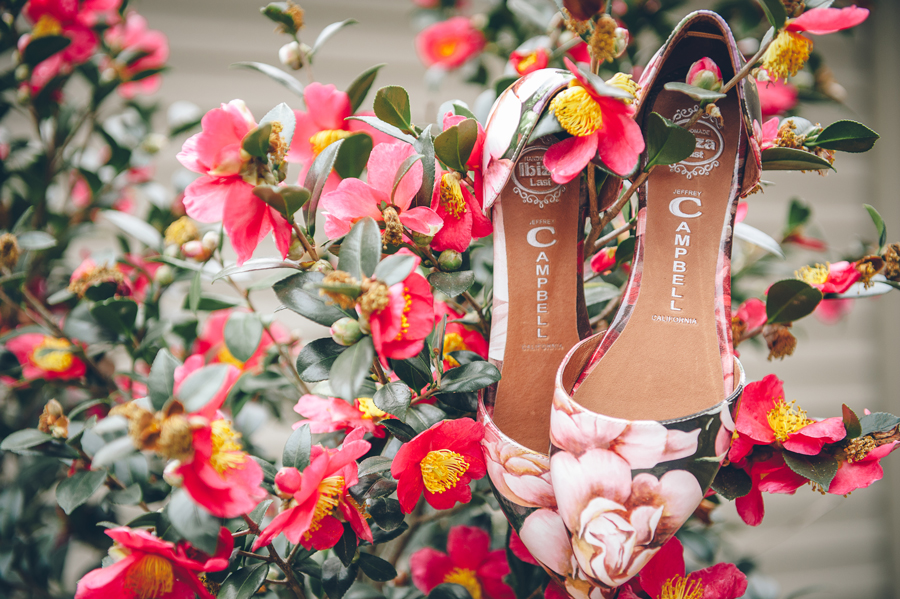 The Bride's shoes are beautifully displayed in this great detail wedding photo.