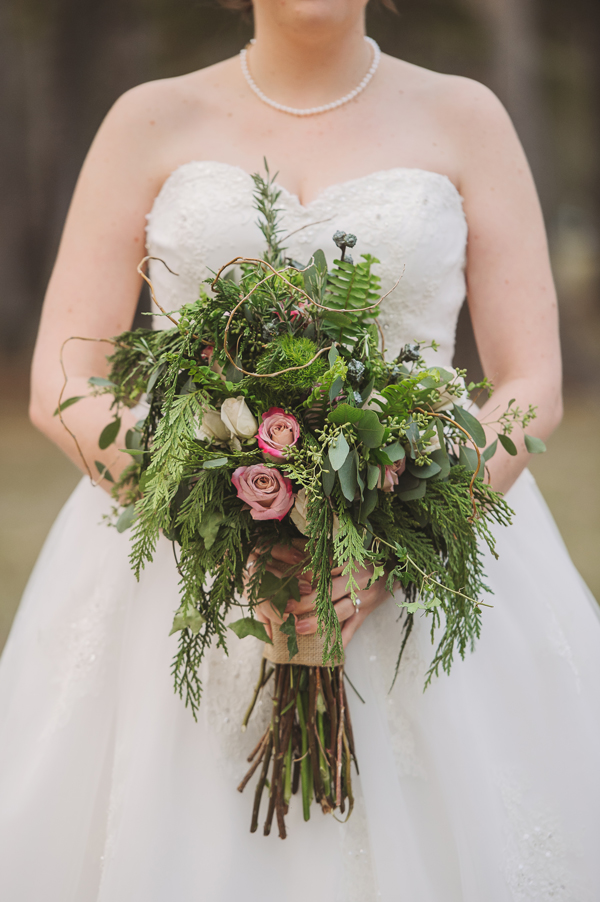 A detail shot of the bride and the bouquet captured by the Covington wedding photographer.