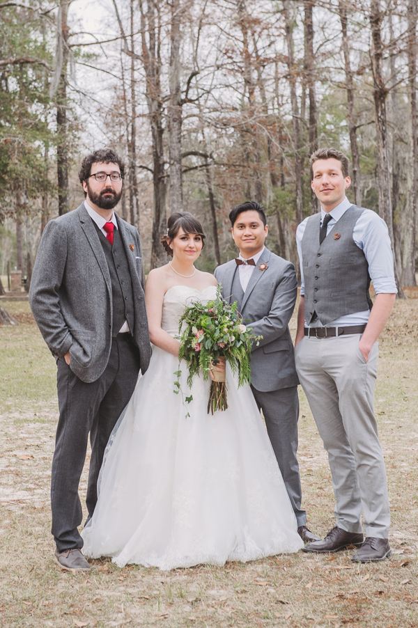 Kevin Banogon and Meredith Lambert pose with two very close friends in wedding photos taken in the Bogue Falaya Park in Covington.
