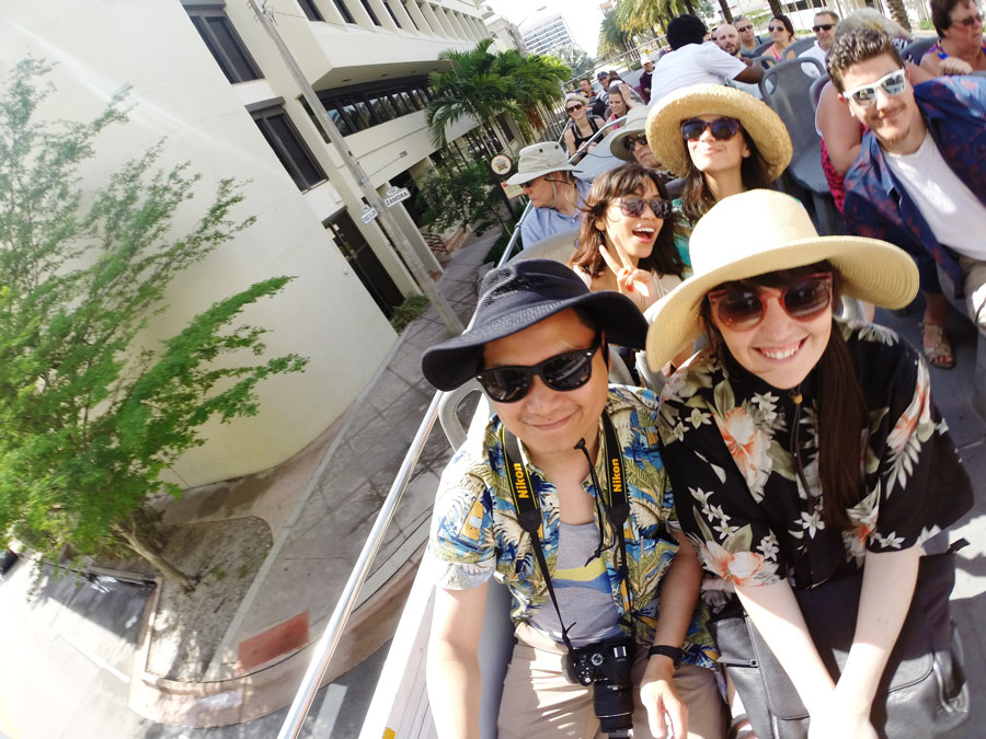 Meredith Lambert Banogon and Kevin Banogon are joined by their friends on the Big Bus Miami Tour.